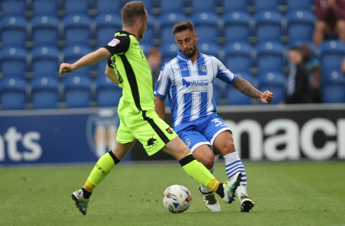 Match action - Lewis Kinsella (right) played for an hour for Colchester United under-23s in their 2-0 defeat at Millwall under-23s