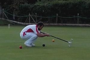 Focus - Toni Savage eyes up the ball prior to a shot in the East Anglian Golf Croquet Championship at Colchester Picture STEPHEN SCRASE