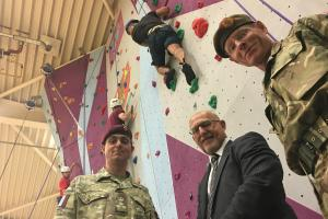 New 9-metre high climbing wall for soldiers and civilians unveiled at gym