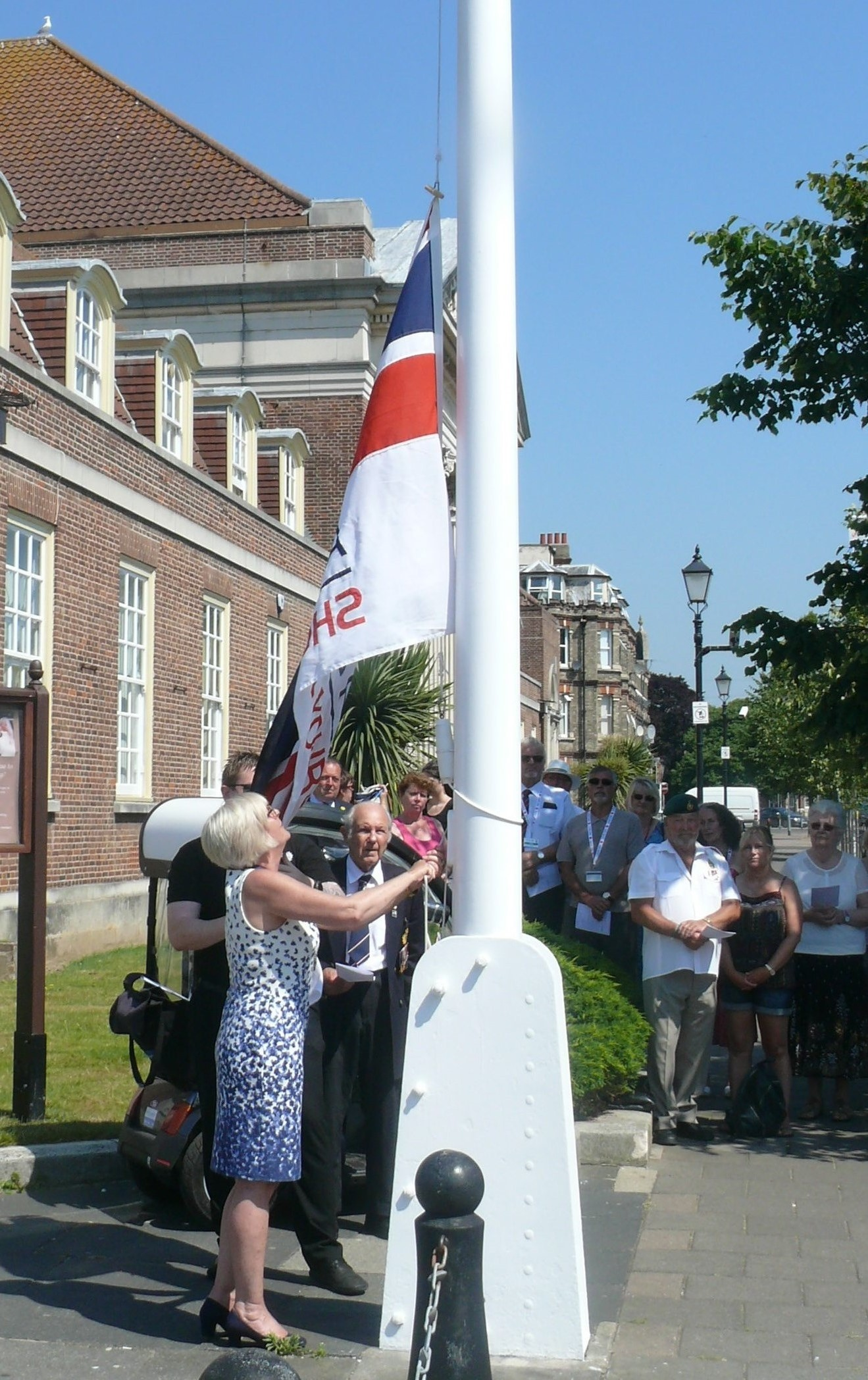 The Armed Forces Day flag being raised outside Clacton Town Hall last year