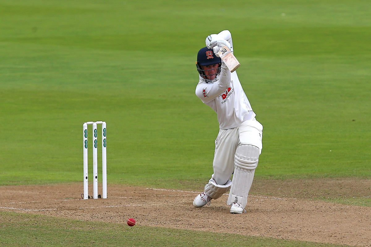 Hitting out - Daniel Lawrence, who made 78, hits four runs for Essex at Edgbaston Pictures: GAVIN ELLIS/TGSPHOTO