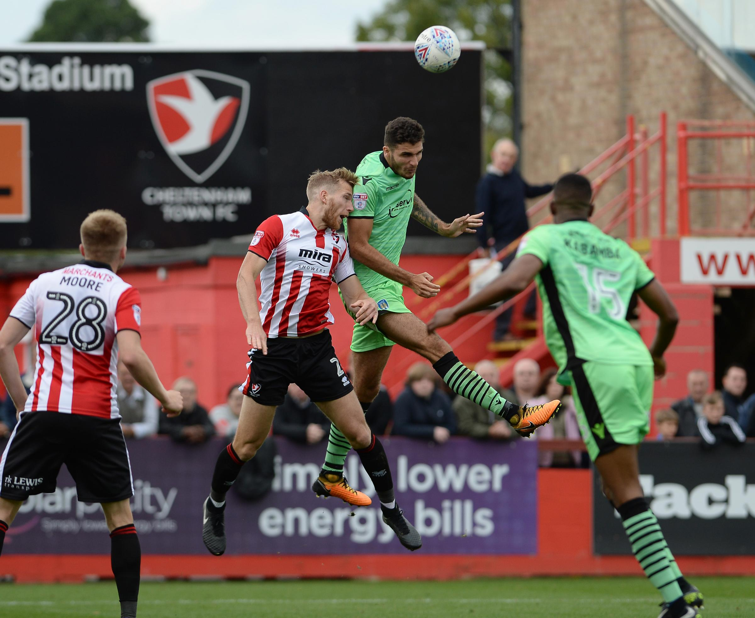 Rising high - Ryan Inniss wins a header during Colchester United's 3-1 loss at Cheltenham Town, last Saturday Picture: PAGEPIX