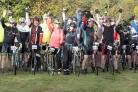 Riders psyche themselves up for the friendly race ahead at Monks Farm in Dedham