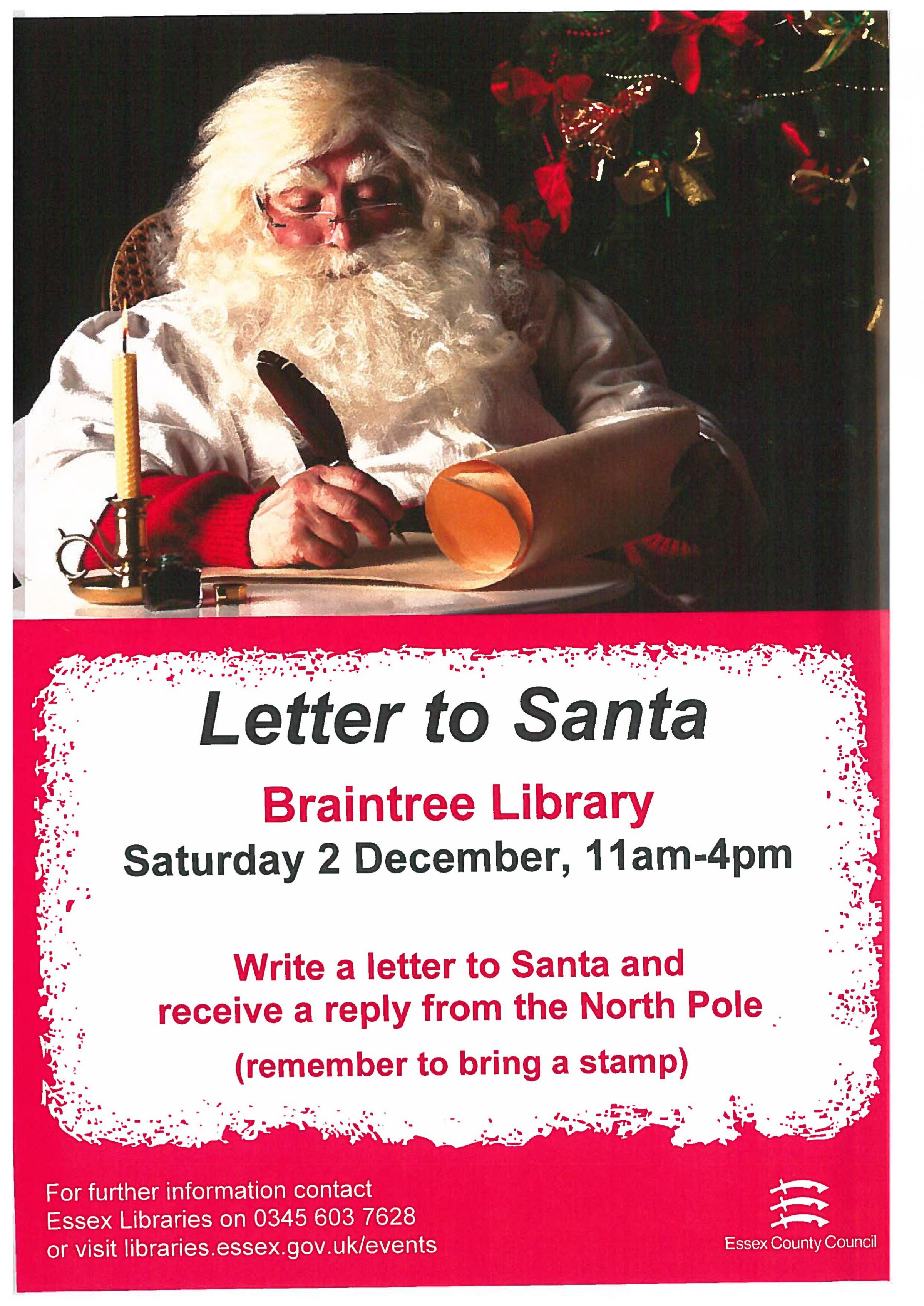 Letter to santa on 2 december at 1100 come along to braintree library write a letter to santa and receive a reply from the north pole remember to bring a stamp envelopes will be provided spiritdancerdesigns Gallery