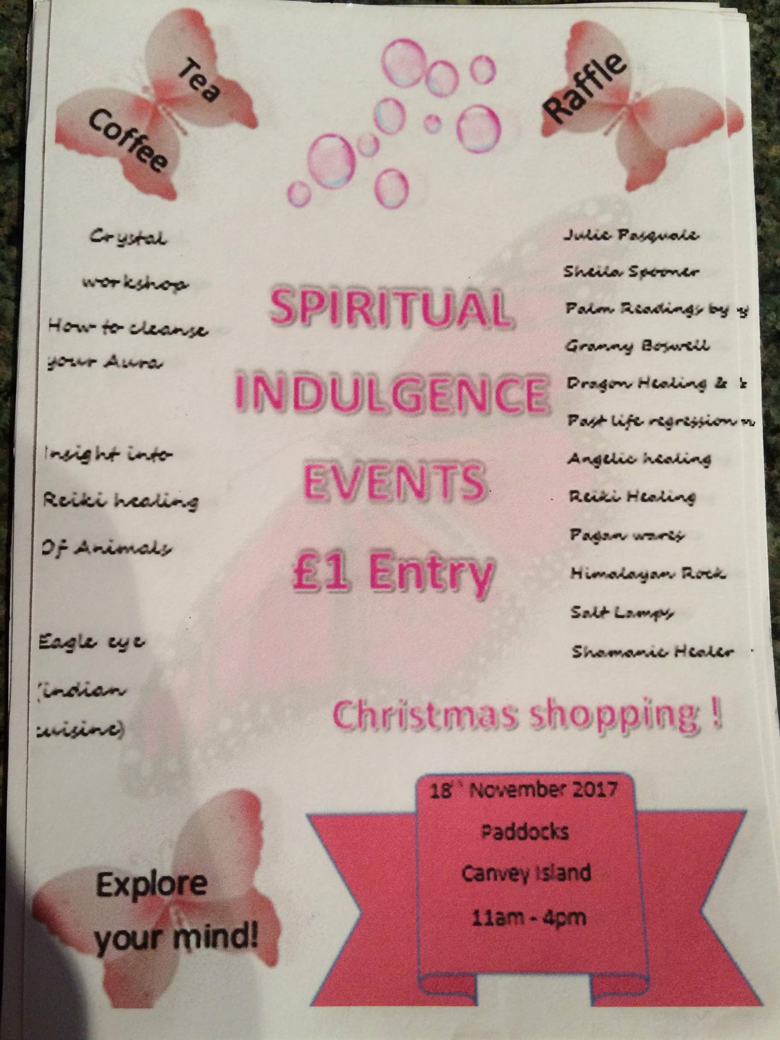 Spiritual indulgence event.  Mind,body & spirit. Christmas shopping