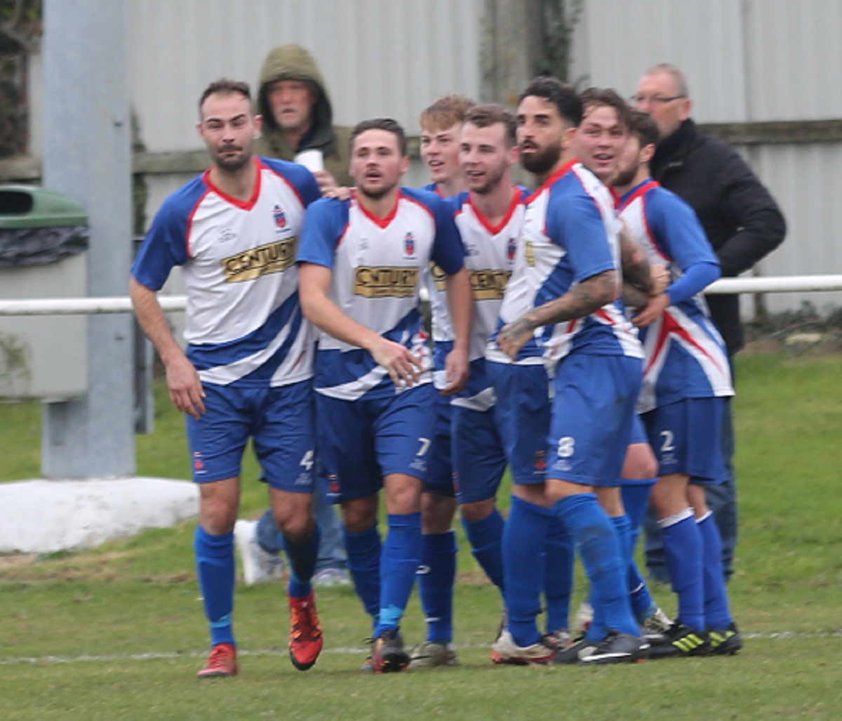 Party time - FC Clacton celebrate Jake Plane's first goal against Newmarket Picture: Seana Hughes