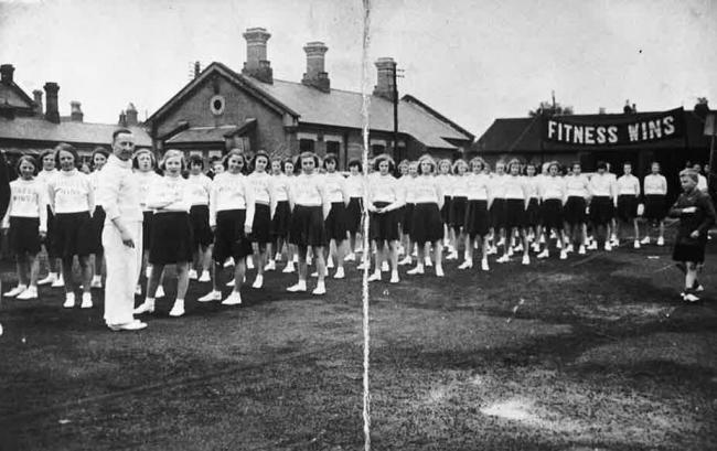 P.E 1940's style at the Sheepen Road school
