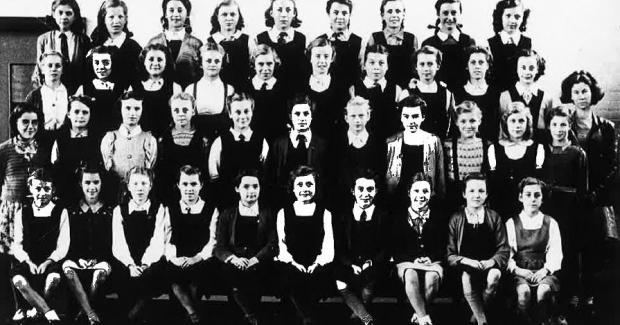 Gazette: Group - a class photo from the 1940s.