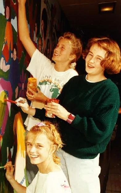 Gazette: Painting - more work on the mural at St Helena school in the 1990s