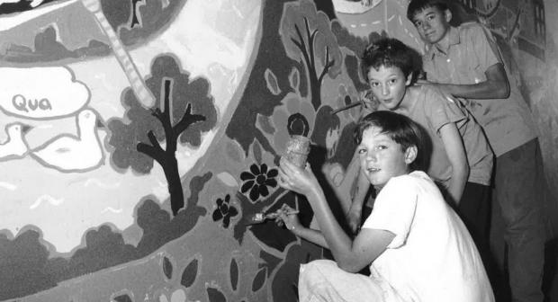 Gazette: Colour - students work to create a mural at the school