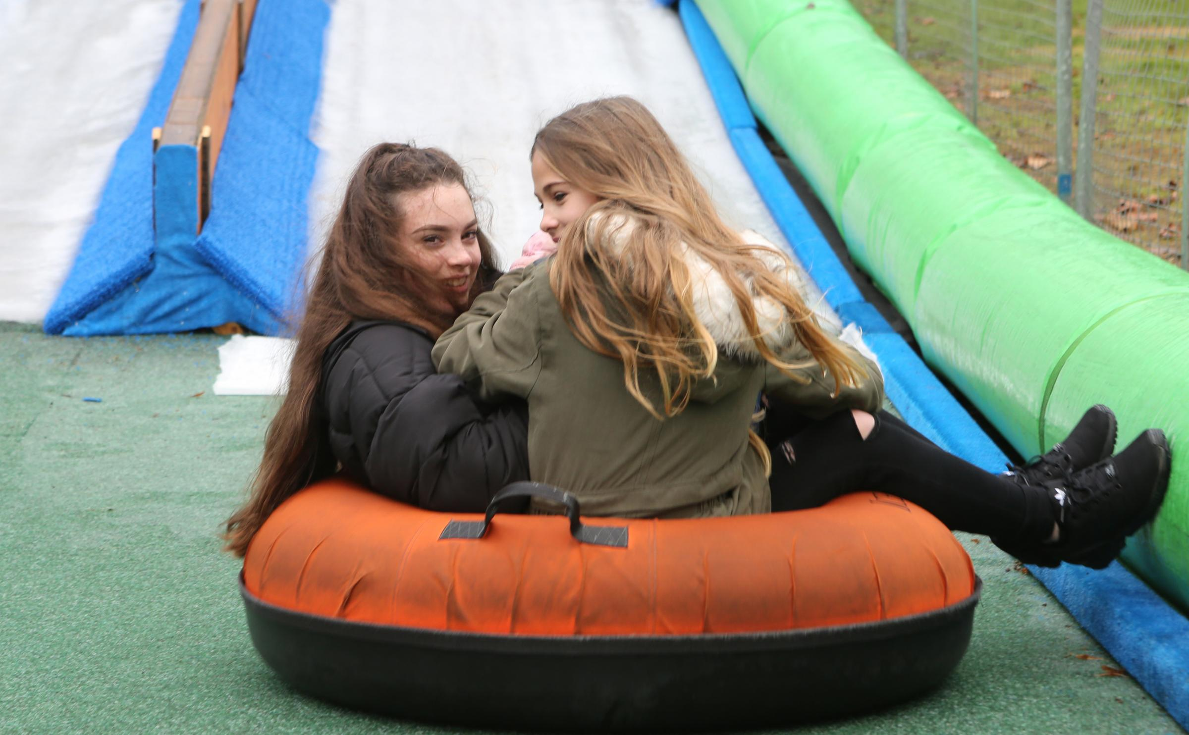 Ellie Farquhar and Alannah Girling at the slide's launch