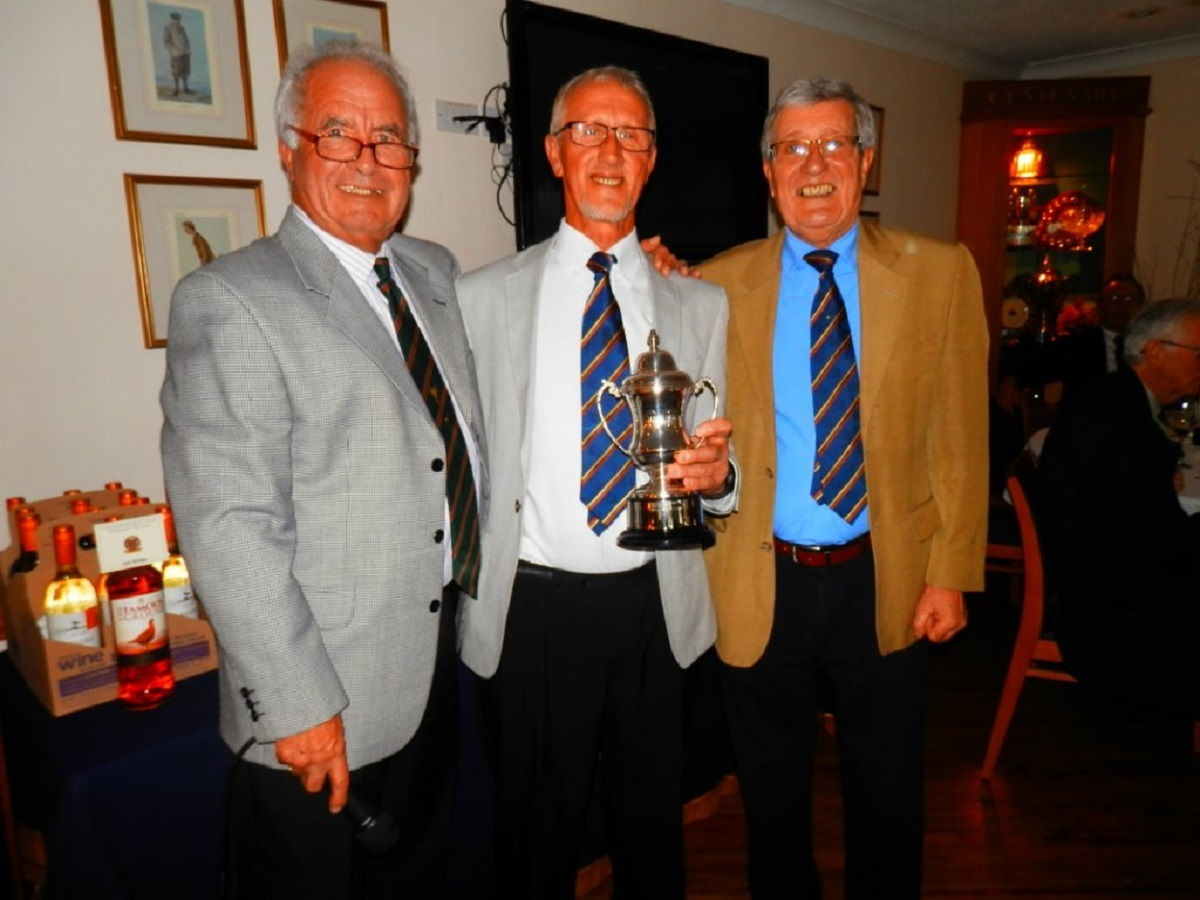 Trophy time - left to right John Champ, winner Peter Robinson and veterans captain Clive Kerr following Colchester Golf Club's John Champ Vets Christmas Stableford
