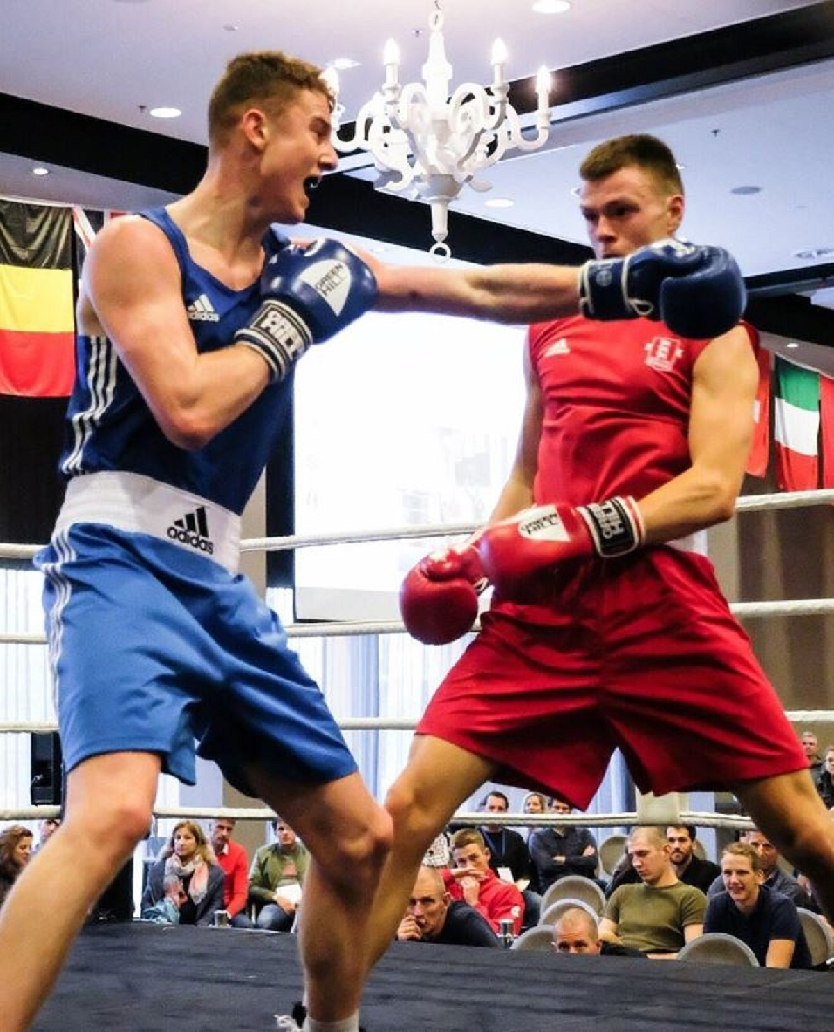 Talent - Lewis Richardson (red vest) on his way to beating Lydney's Liam O'Hare in his NABC semi-final