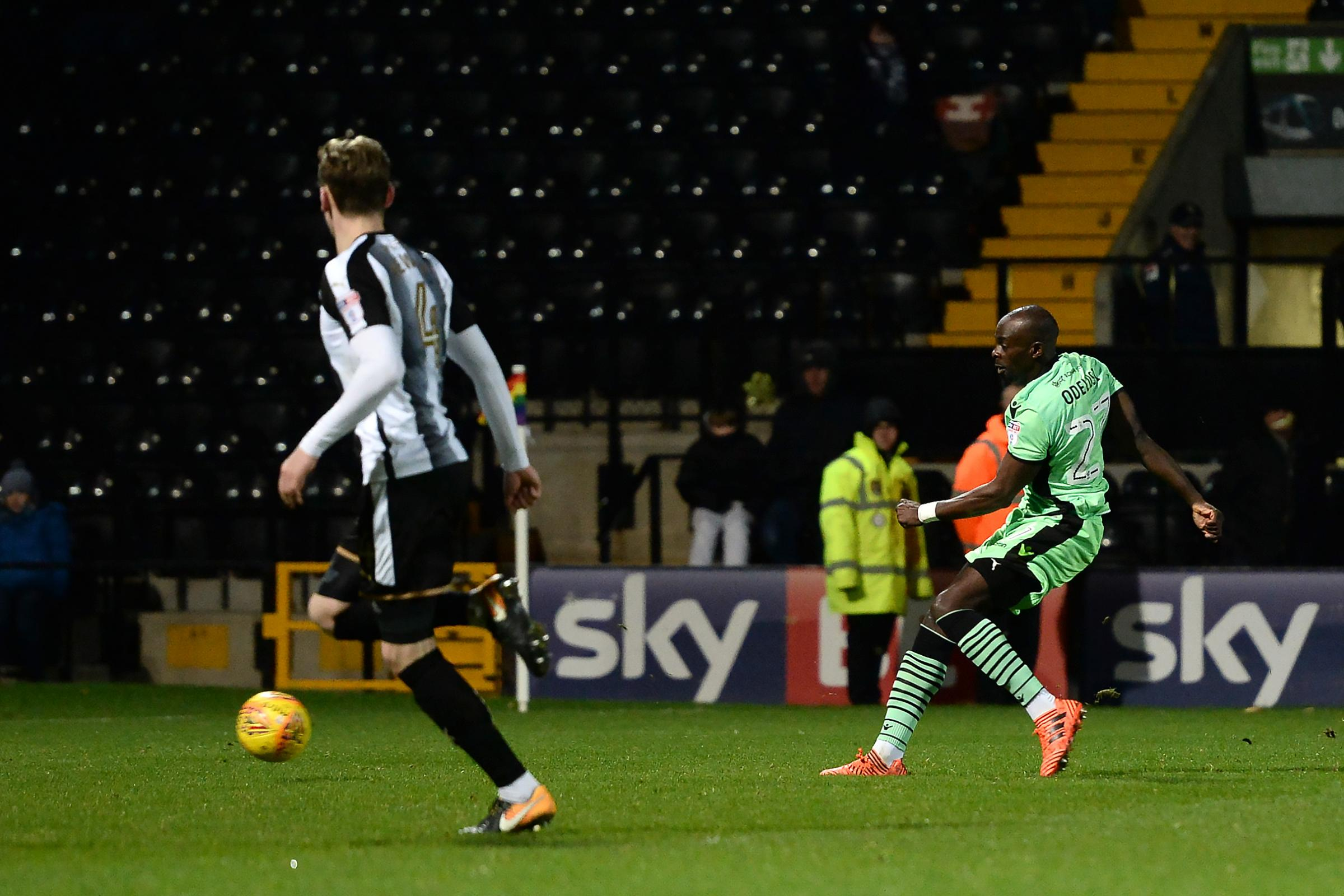 Memorable moment - Sanmi Odelusi scores his only goal for Colchester United in their 2-1 defeat at Notts County Picture: RICHARD BLAXALL