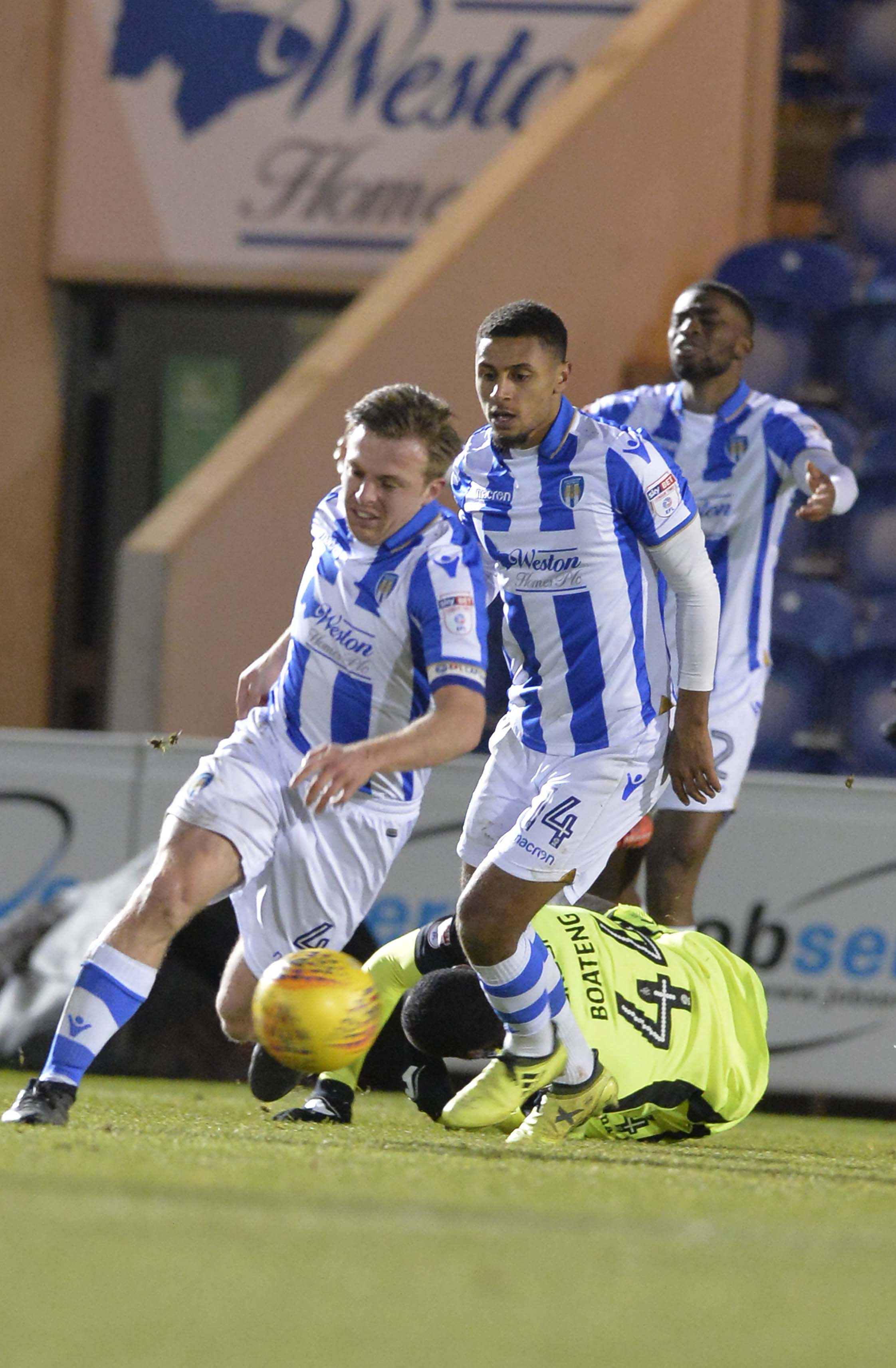 Impressive - Tom Lapslie was in the thick of the action for Colchester United against Cambridge United Picture: STEVE BRADING