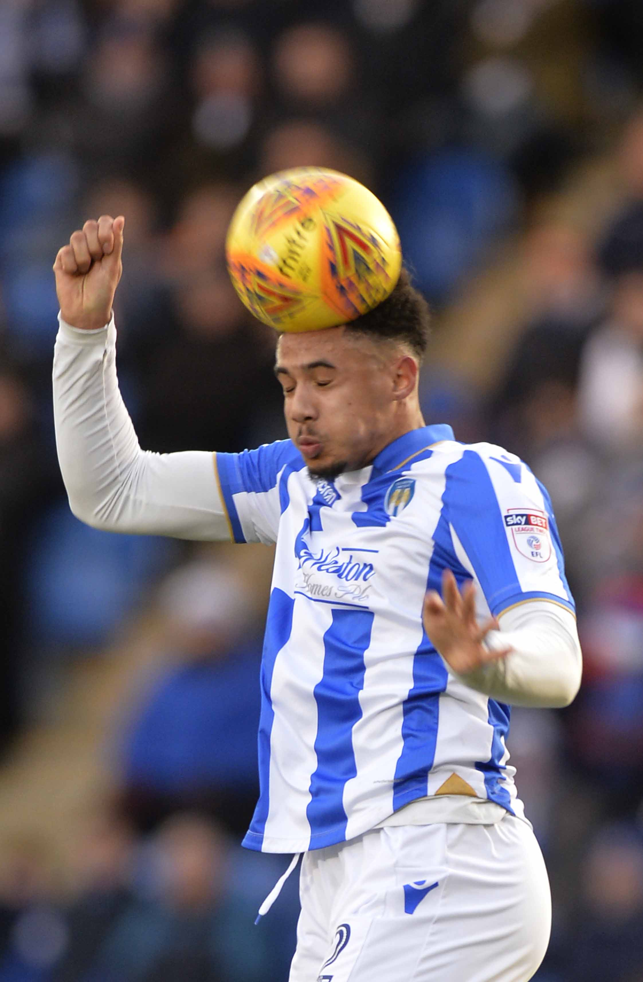 Back in the fold - Cole Kpekawa made his first league appearance for Colchester since mid-October in their 0-0 draw with Cambridge United on New Year's Day Picture: STEVE BRADING