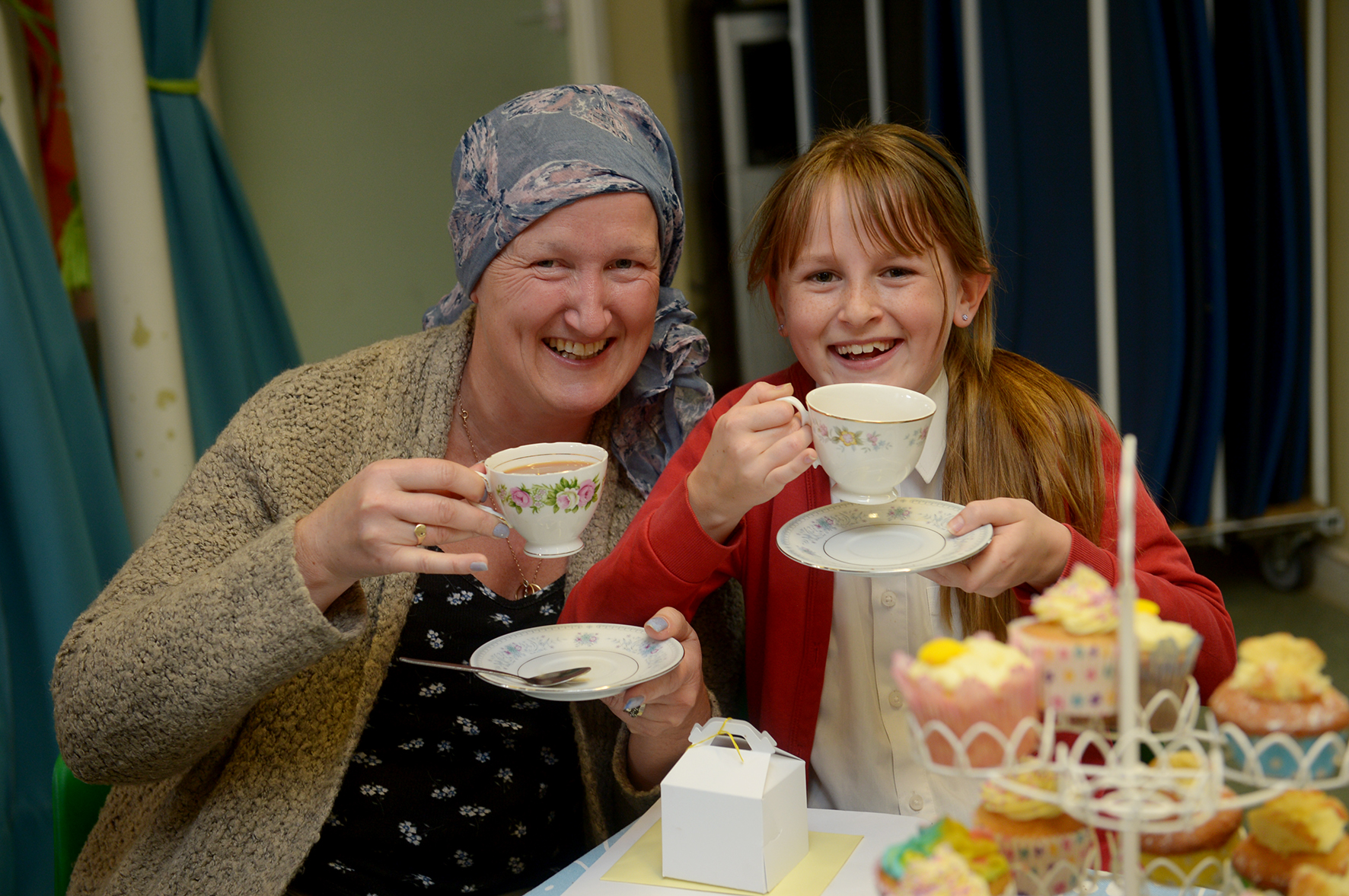 Helen and Natalie Pepper enjoy a tea party at Colne Engaine Primary School
