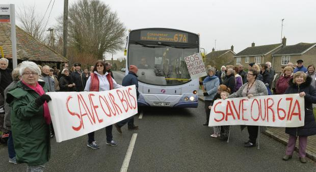 Save our bus, protest in Peldon about the possible scrapping of their First Bus through the village.