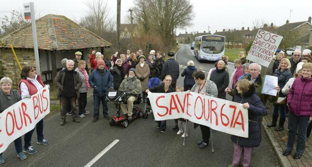Gazette: Save our bus, protest in Peldon about the possible scrapping of their First Bus through the village..