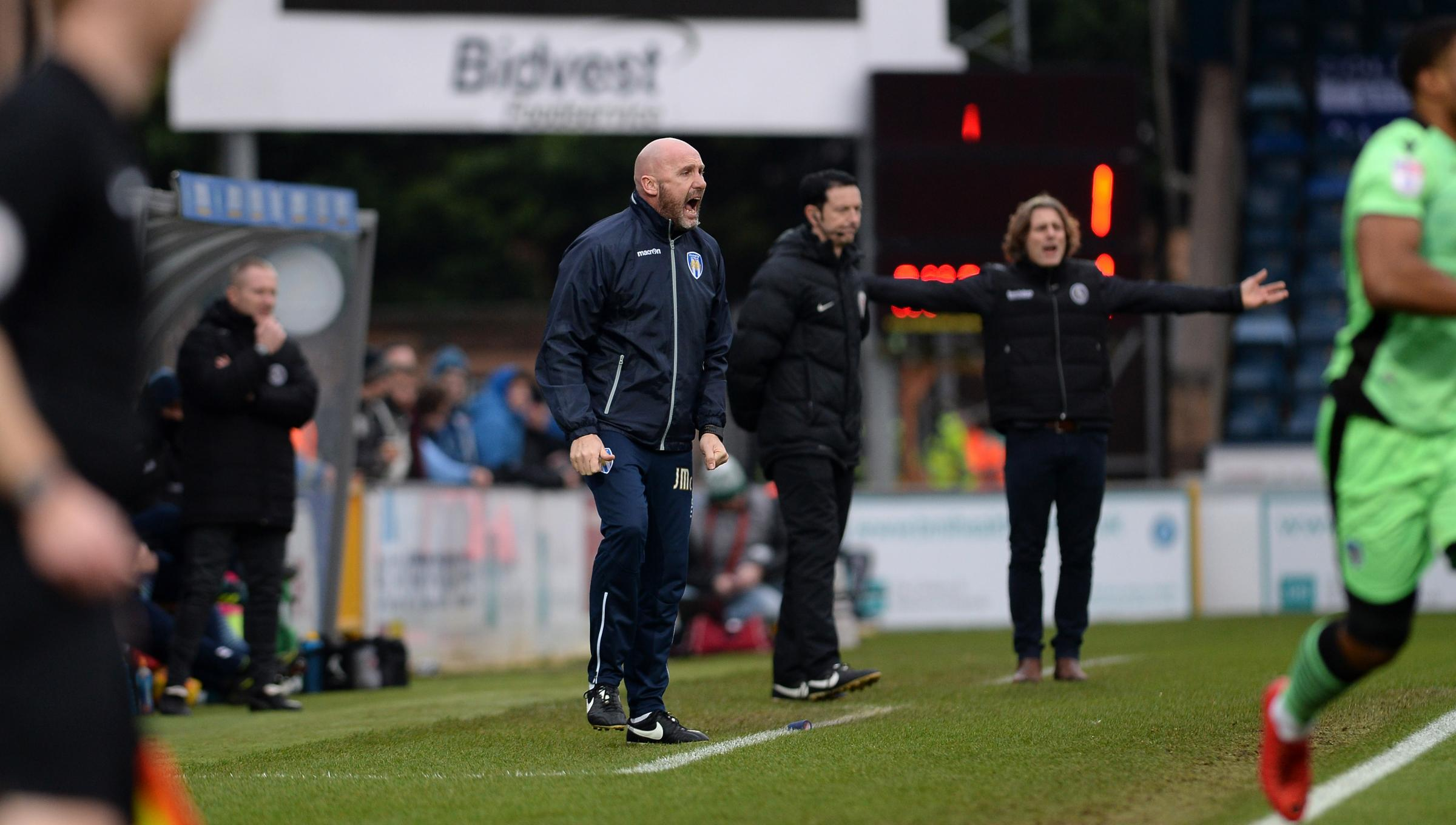 Giving instructions - Colchester United head coach John McGreal gives out orders to his side during their 3-1 defeat at Wycombe Wanderers Picture: PAGEPIX