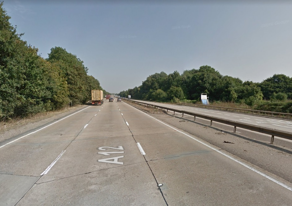The A12 is partially blocked at Marks Tey following crash
