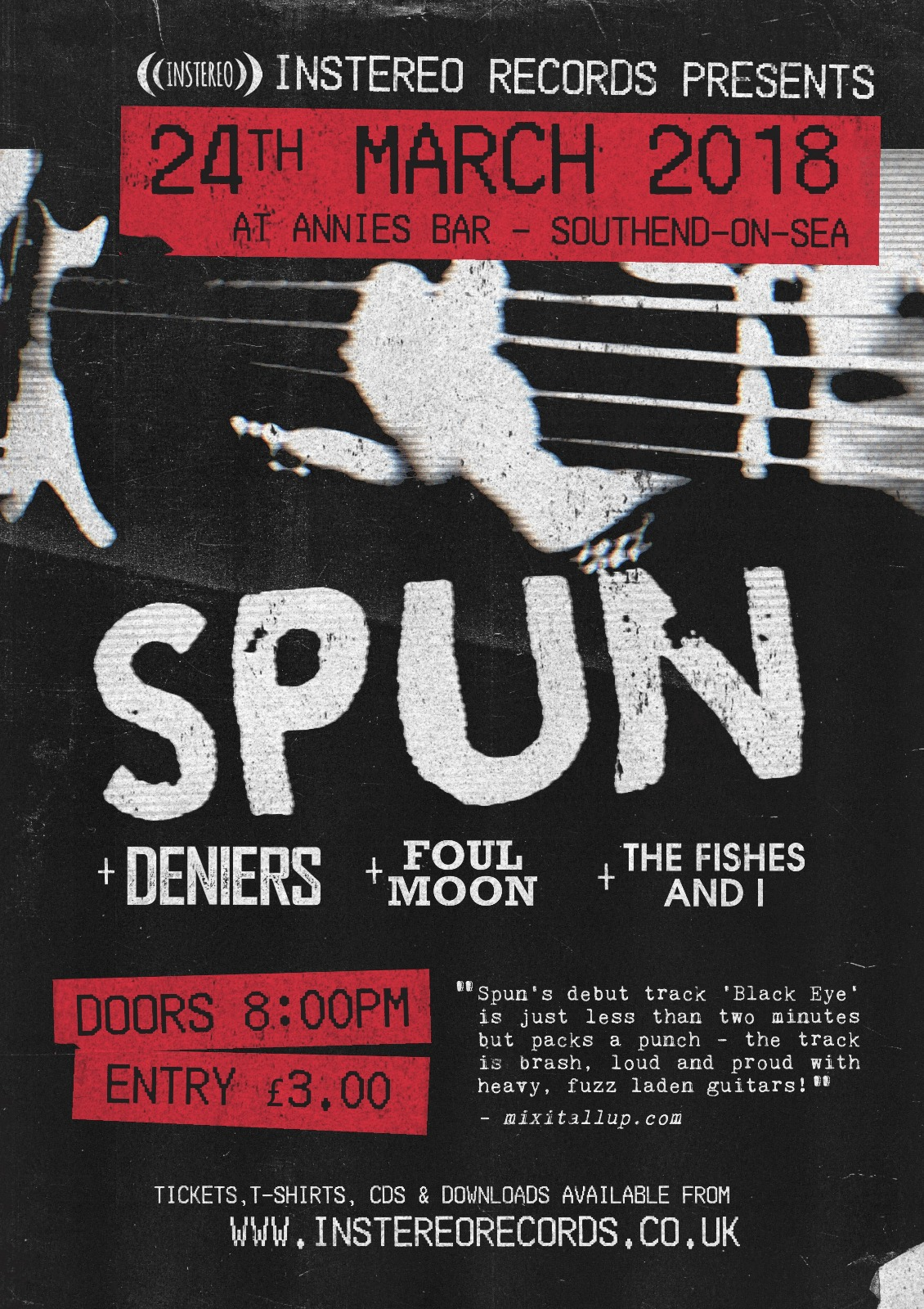 INSTEREO RECORDS PRESENTS: SPUN, DENIERS, FOUL MOON AND THE FISHES & I
