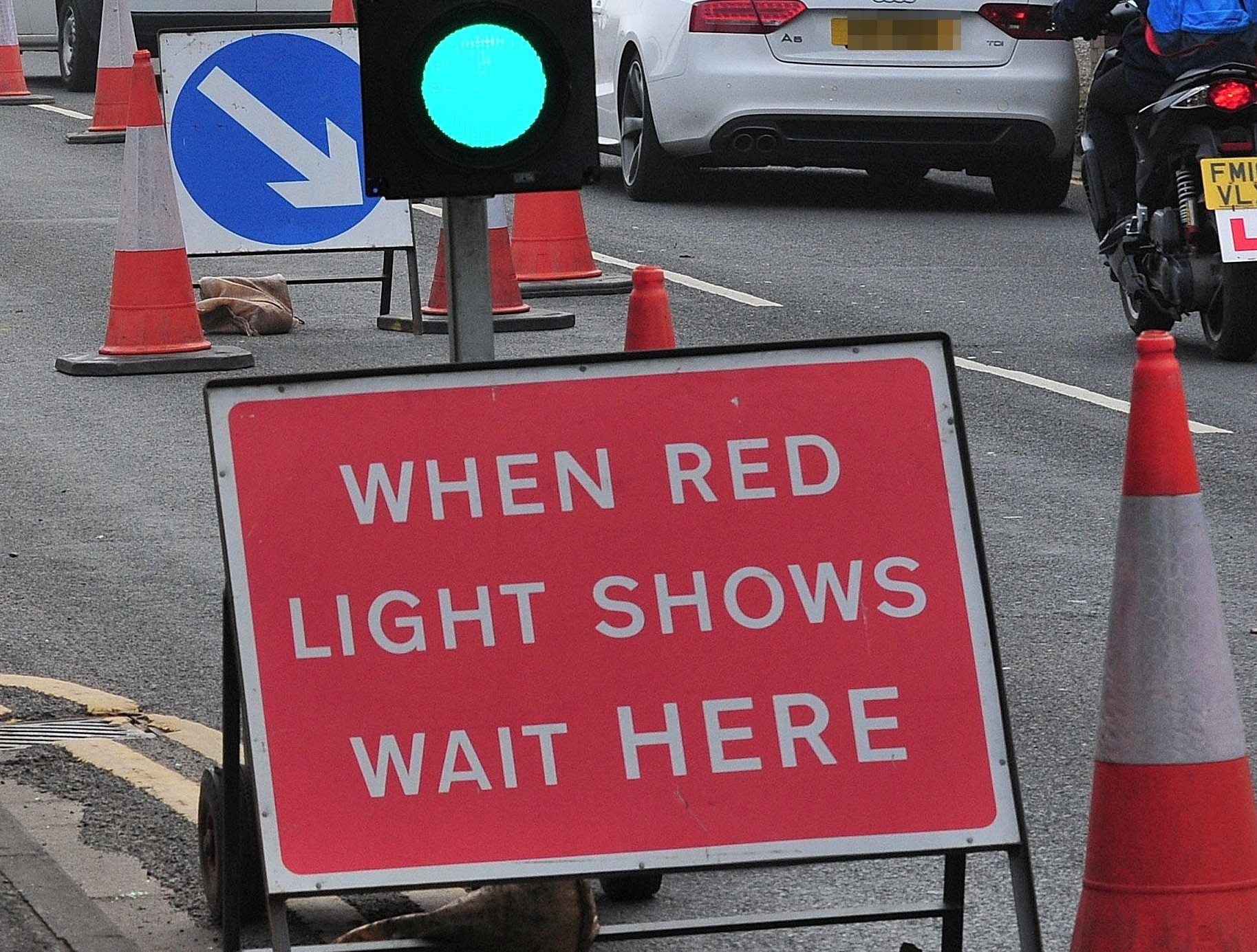Temporary traffic lights are causing congestion this morning