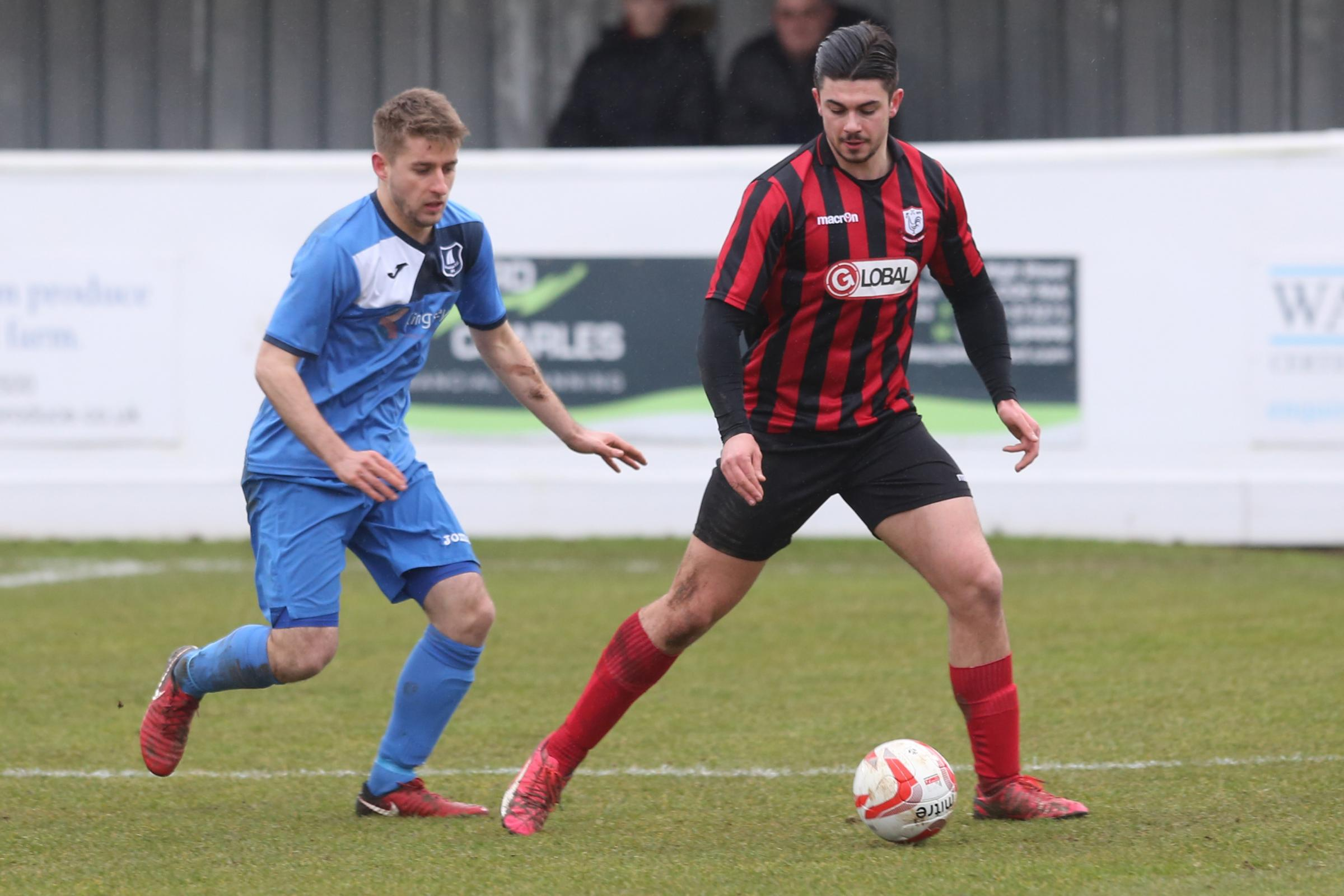Tom Monk scored twice for Coggeshall against Wroxham Picture: Seana Hughes