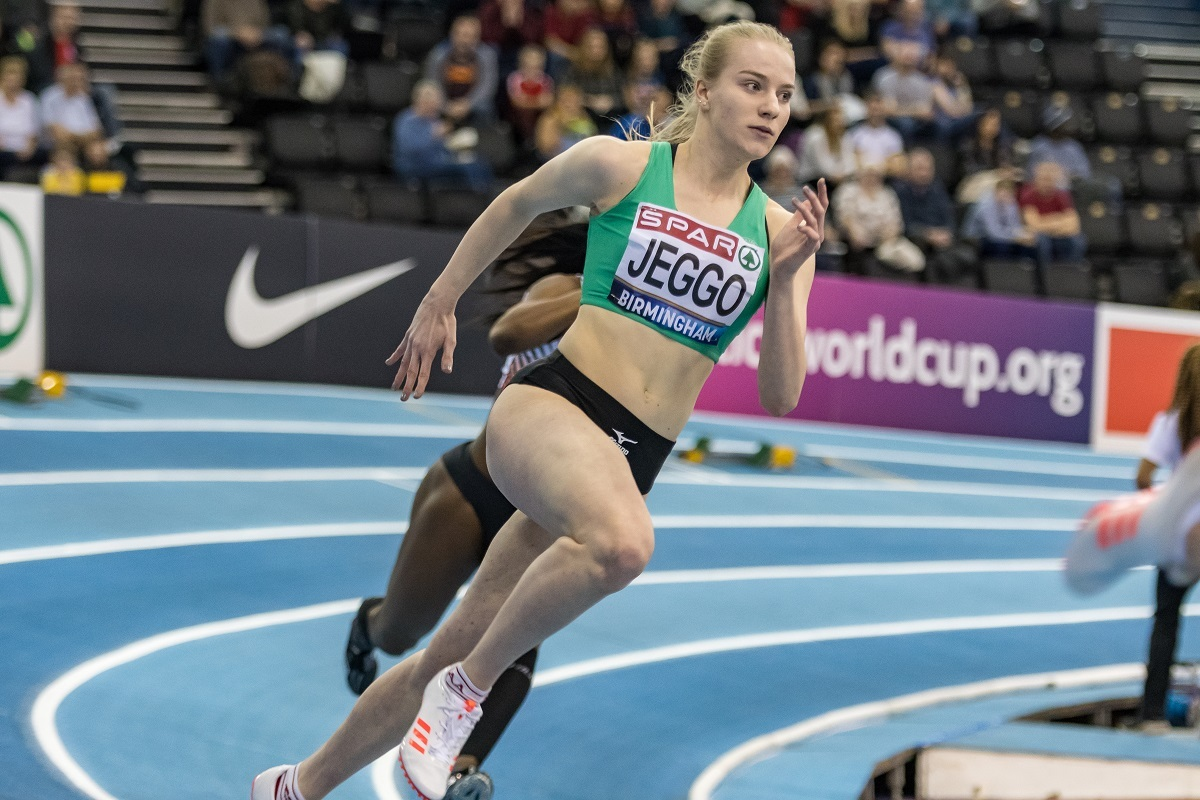 Pace - Colchester Harriers' Rebecca Jeggo in action at the British Athletics Indoor Championships in Birmingham MUST CREDIT ADRIAN ROYLE