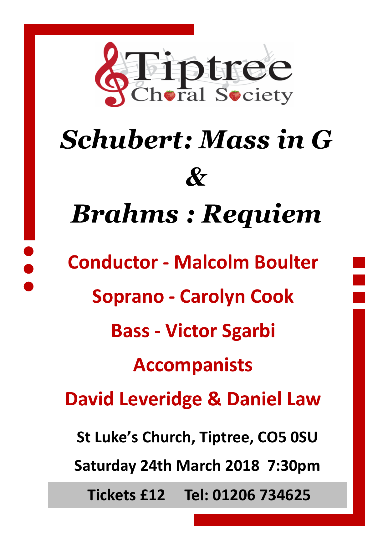 Tiptree Choral Society sings Schubert and Brahms