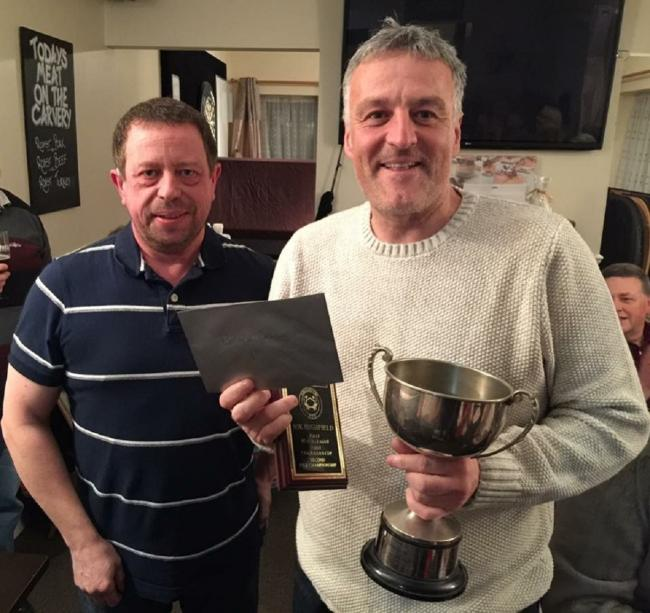 Prize time - Colchester Sea Angling Club held their presentation night and Nik Highfield is pictured receiving his prizes from Kevan Martin