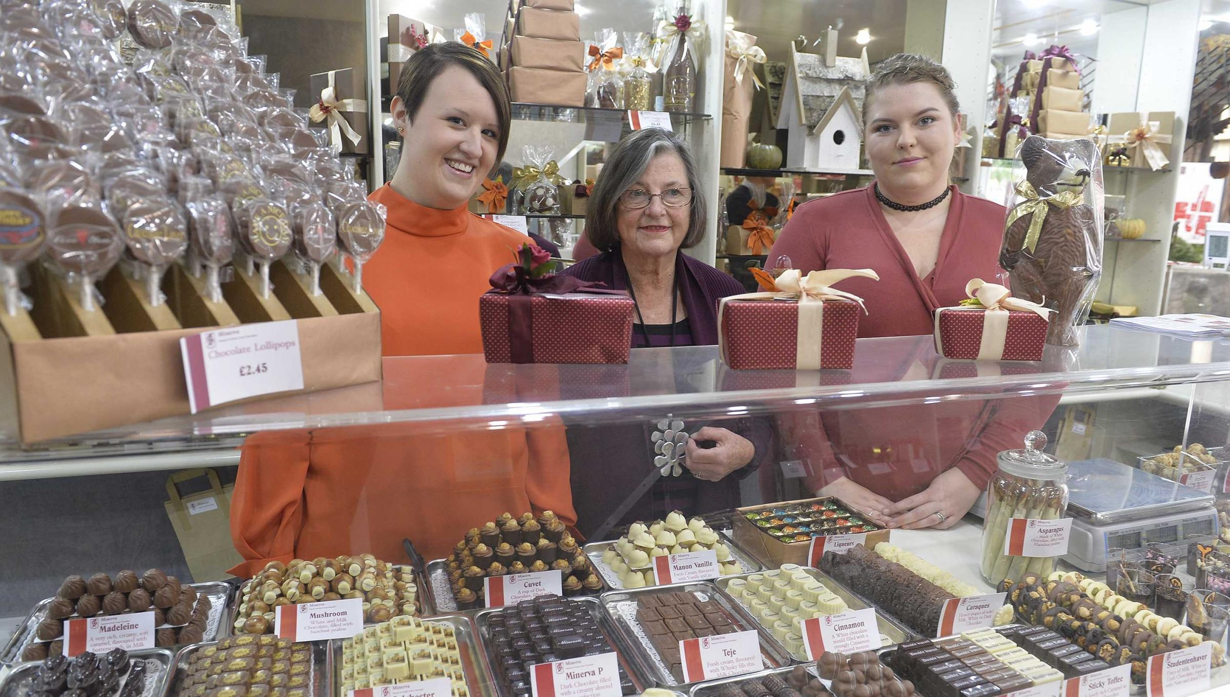 Dedicated - Nadine Humphreys, Madeleine Johnson and Ellie Bell from Minerva Chocolates at a 30th anniversary celebration