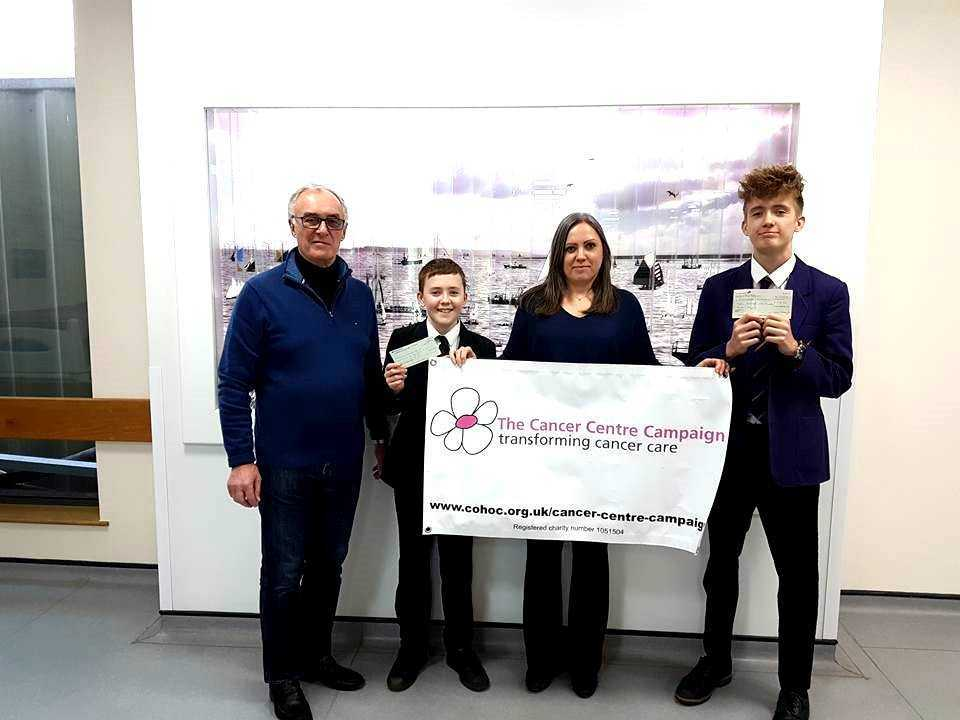 Support - Peter Wilson, Chairman of the Cancer Centre Campaign, Anne Boylan and her sons Callum and Connor