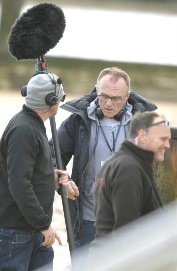 Gazette: Filming by Danny Boyle on Frinton beach, near the golf club entrance..Danny Boyle on set.