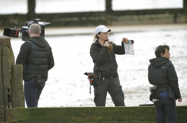 Gazette: Filming by Danny Boyle on Frinton beach, near the golf club entrance..Filming taking place.