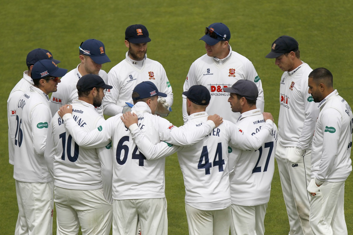 The Essex team huddle prior to the start of play at Southampton Picture: GAVIN ELLIS/TGSPHOTO