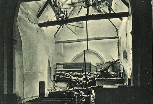 Gazette: damage inside the church at Langenhoe caused by the earthquake..