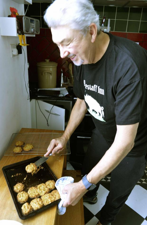 Gazette: Don Quinn with his biscuits at home in Colchester..