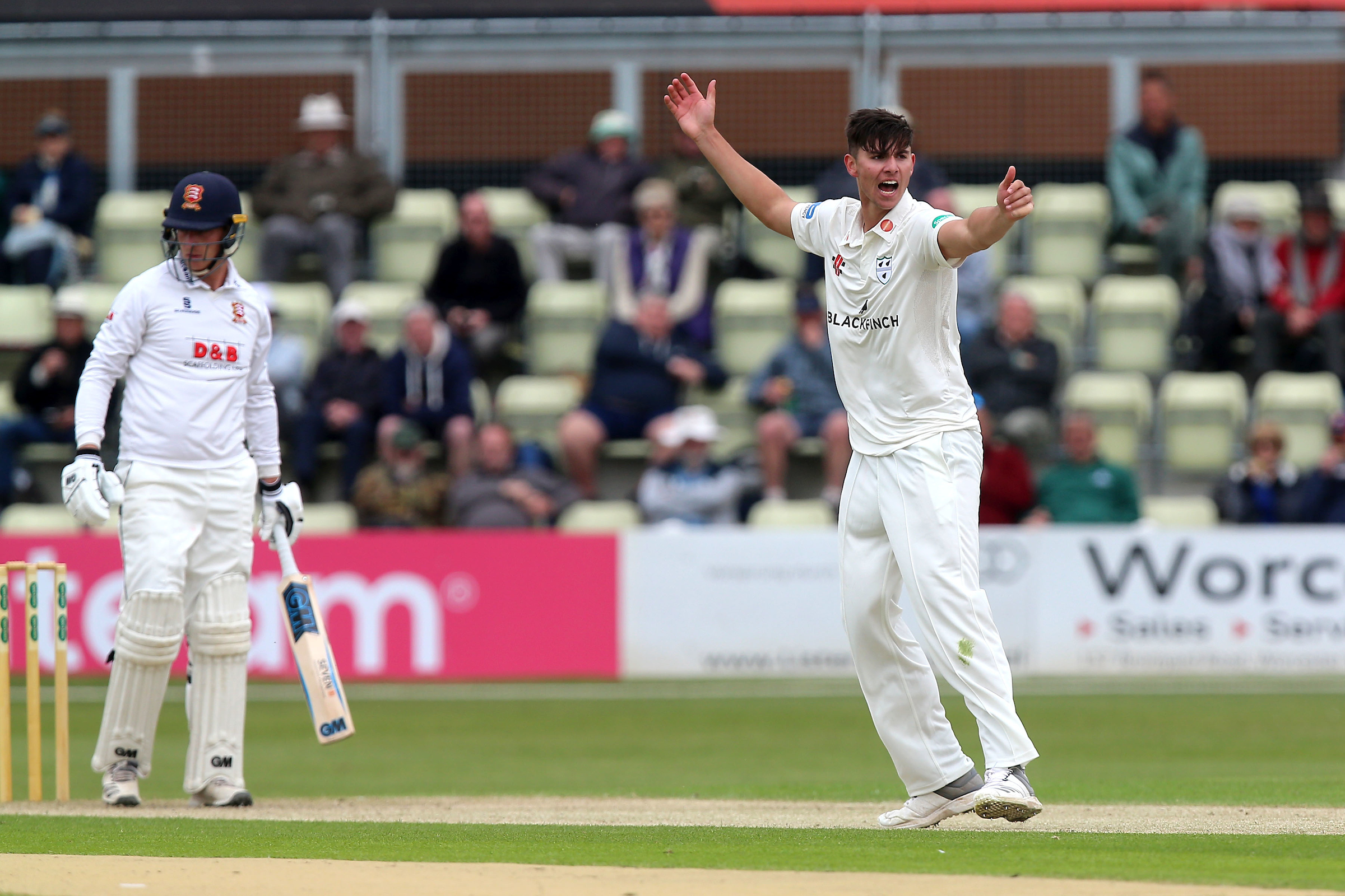 Josh Tongue of Worcestershire appeals for the wicket of Essex's Tom Westley during the opening day of the Specsavers County Championship division one clash at Blackfinch New Road. Picture: Gavin Ellis/TGS PHOTOS