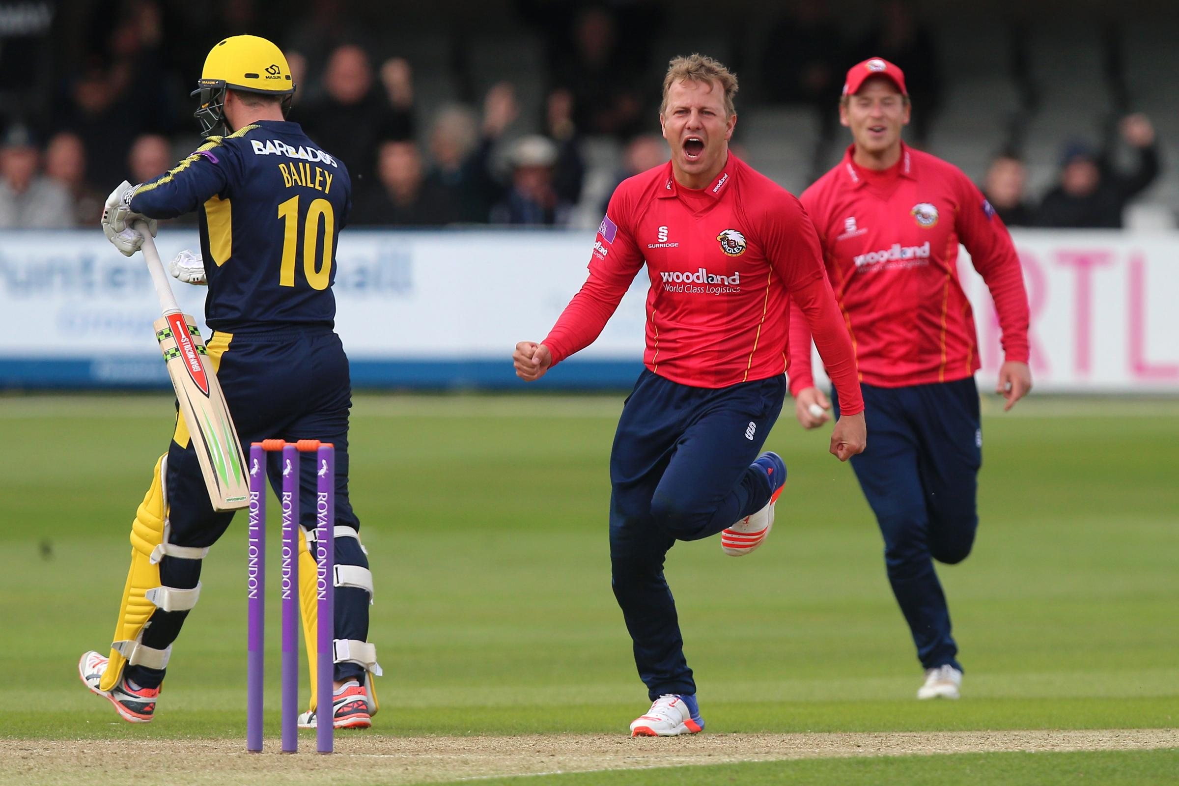 Neil Wagner celebrates taking the wicket of George Bailey during Essex Eagles game against Hampshire in last season's Royal London One-Day Cup. Picture: Gavin Ellis/TGS PHOTOS