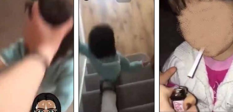 Disturbing - the toddler is seen being given a cigarette and getting kicked down the stairs