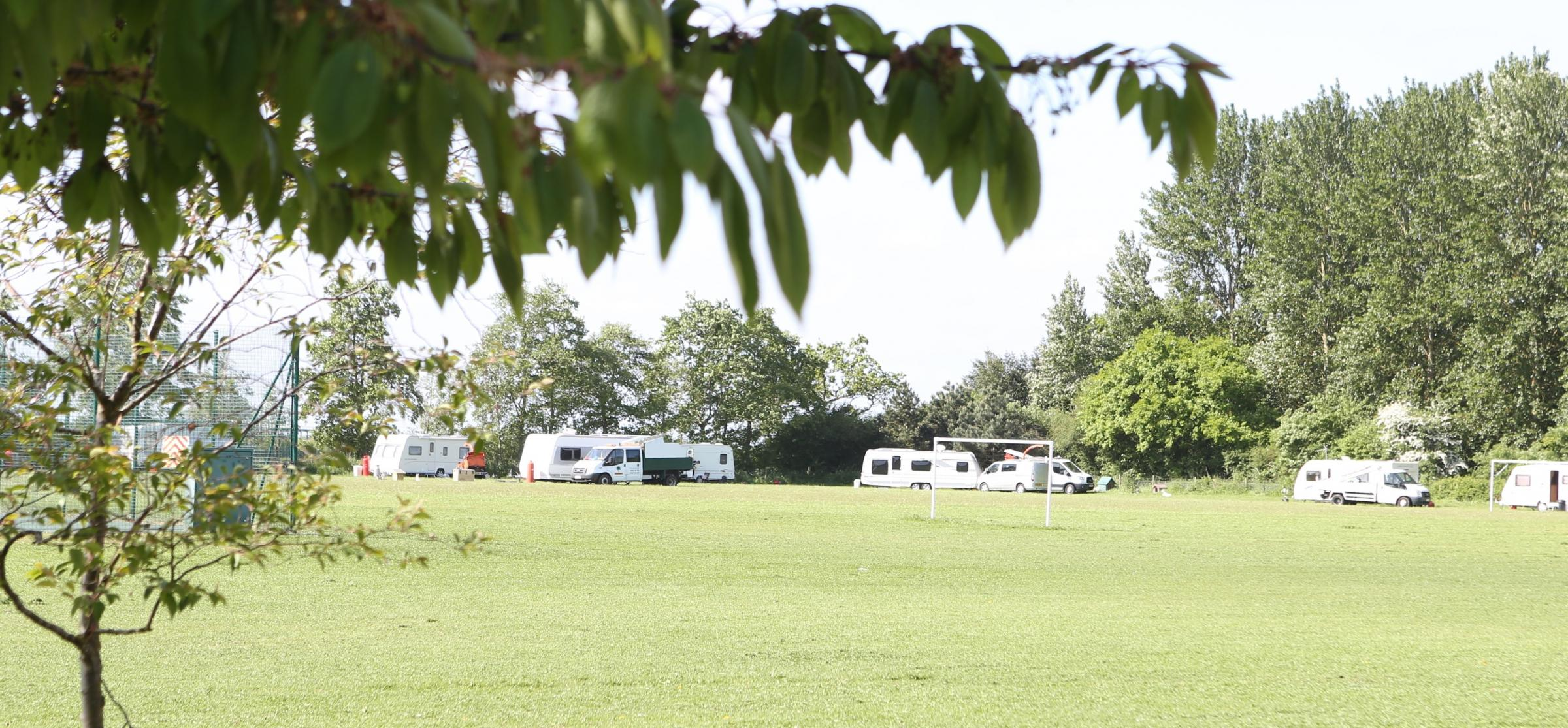 Encampment - the travellers have been ordered to move on by Essex Police