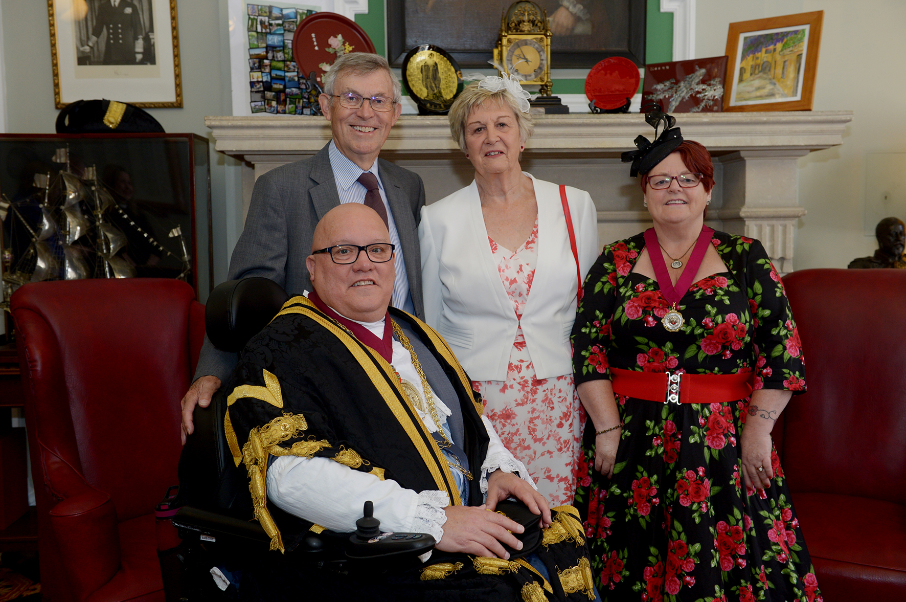 Handover - the outgoing Colchester mayor Gerard Oxford, with the current deputy mayor Peter Chillingworth and deputy mayoress Ann Chillingworth, with mayoress Beverly Oxford.