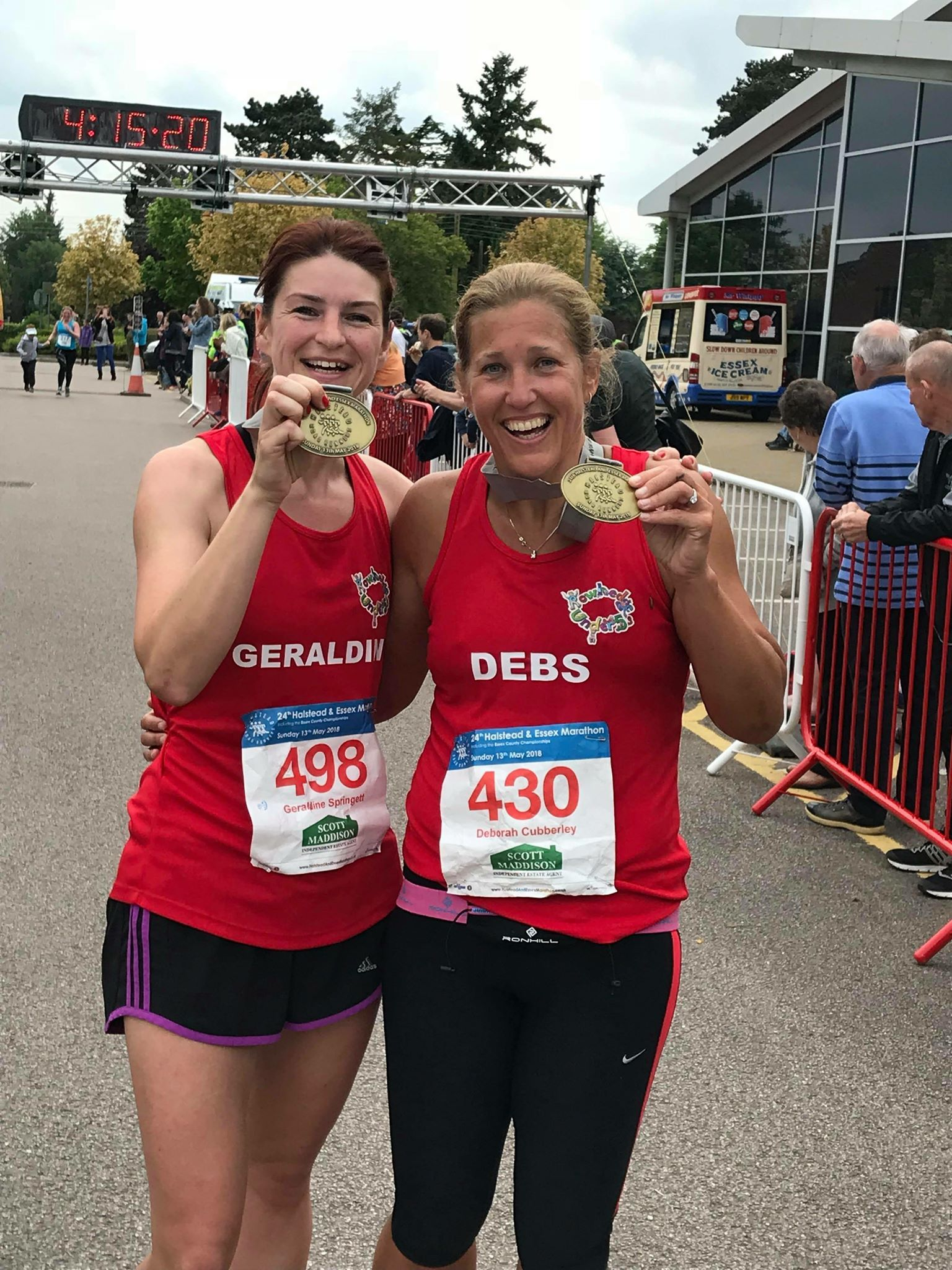 Finished - Geraldine Springett and Debs Cuberley after the Halstead Marathon