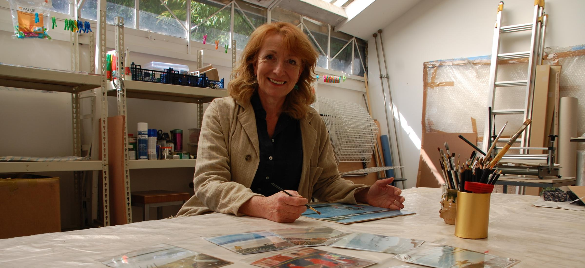 Artist - Barbara Peirson at the Printwork Workshop in Wivenhoe