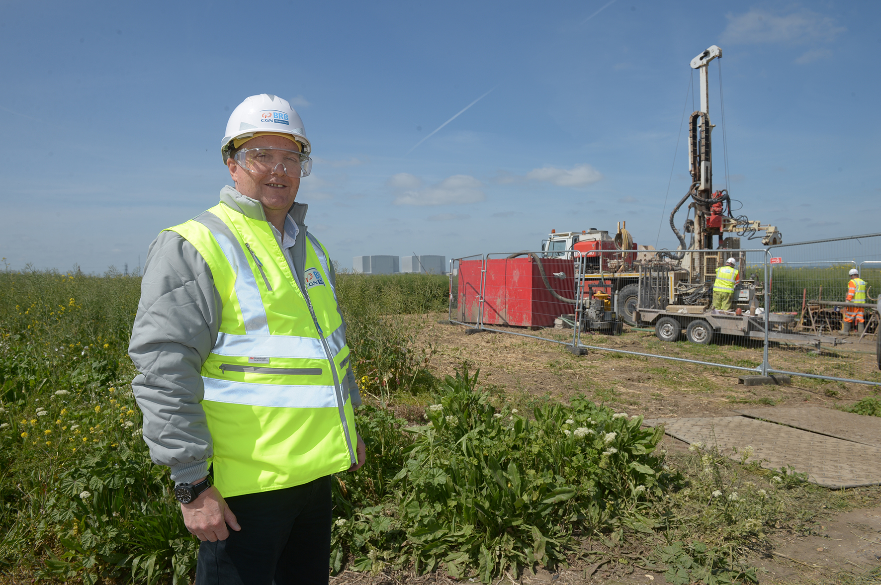 BOSS: Jim Crawford, Deputy CEO for the Bradwell B project, standing in front of a borehole drill and Bradwell A