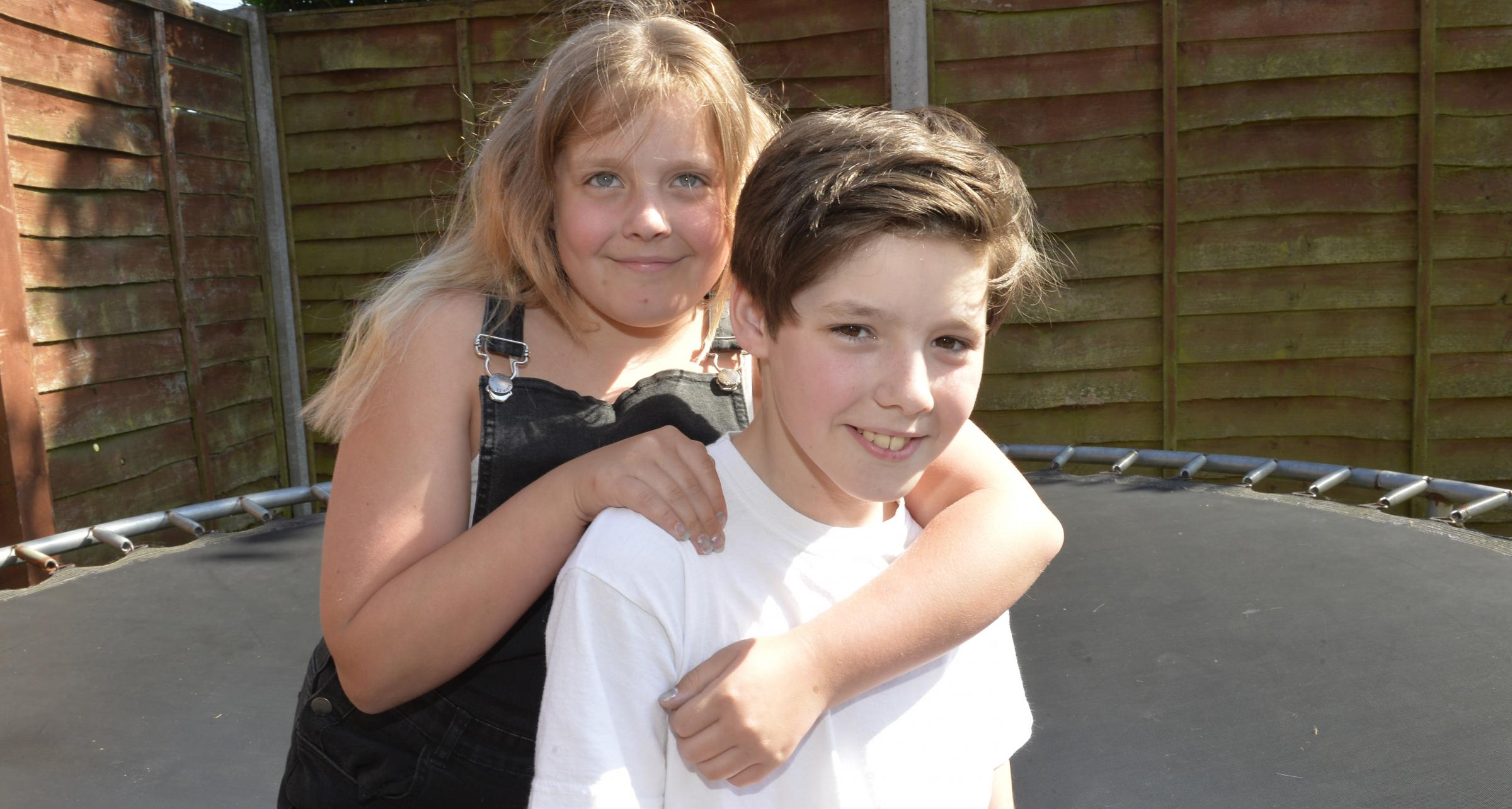Kai Plant, 12, who will be in a tv show, pictured at home in Colchester with sister Calleigh, 10..