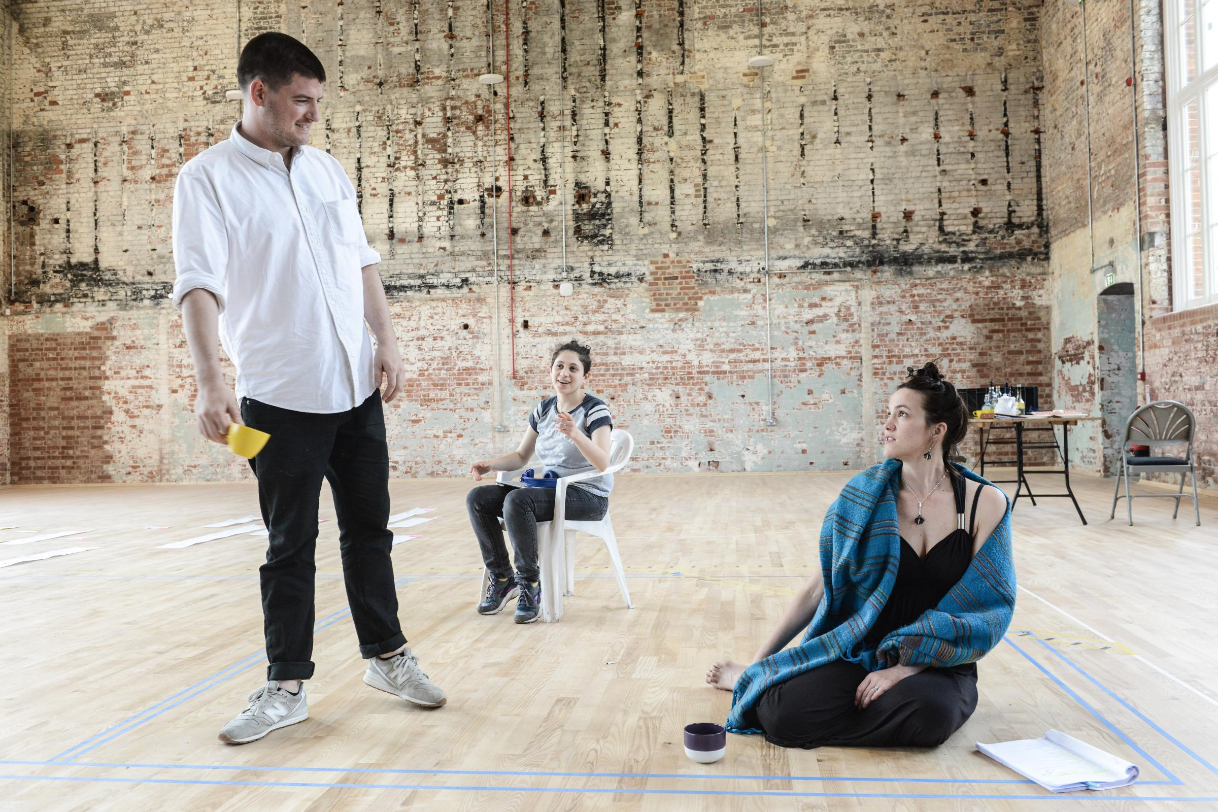James Alexandrou, Natasha Kafka and Anna Koval in rehearsals. Pictures: Robert Day