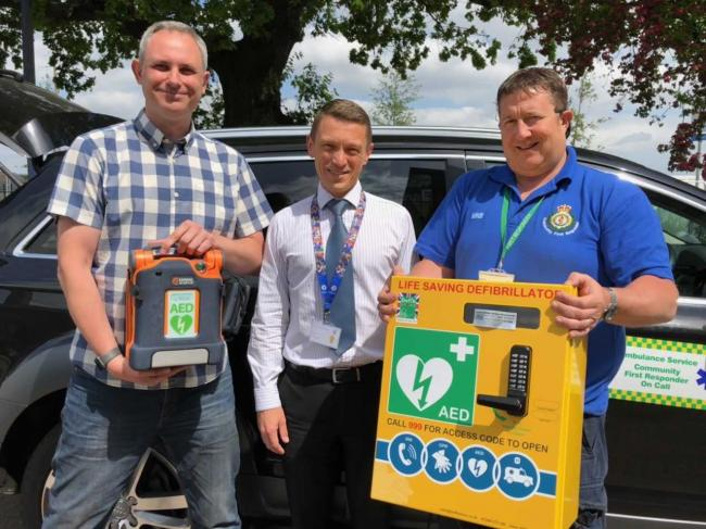 Life-saving - campaigner Jeremy Hagon, co-headteacher Jonathan Bland and first responder Martin Ford
