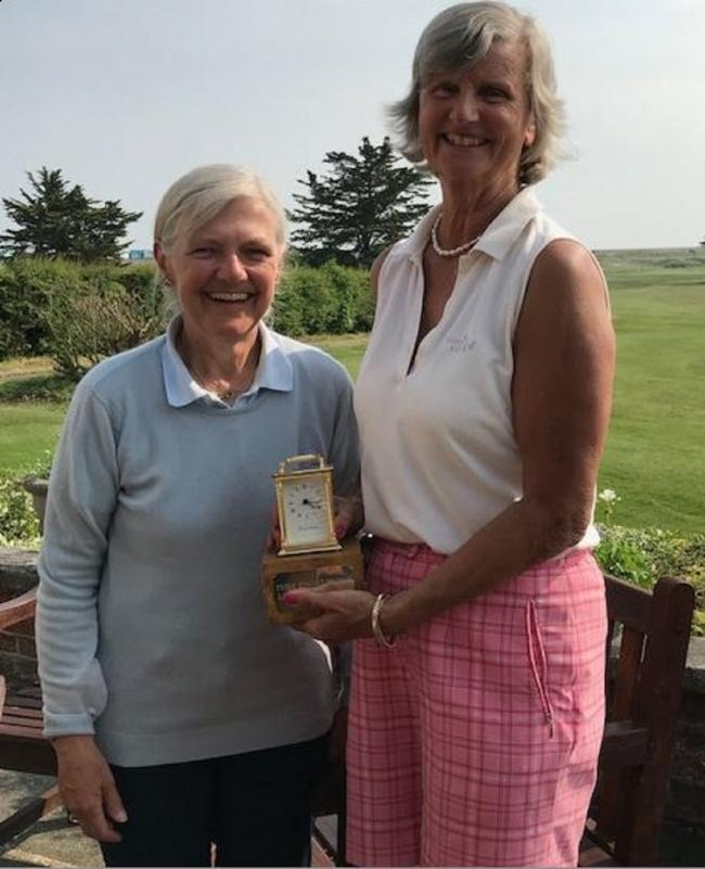 Trophy triumph - Angela Low (right) won the Fiona Edmond Trophy at Frinton Golf Club. Marie Ellis (left) was second